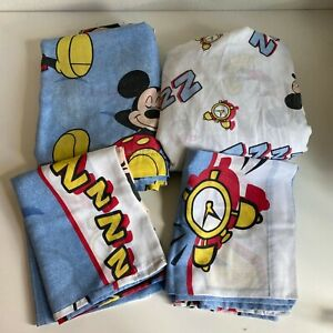 Vtg 90s 4 Pc Mickey Mouse Sleeping Twin Bed Sheet Set Fitted Flat 2 Pillowcases
