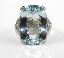 Fine Huge Oval Aquamarine Solitaire Ring w/Diamond Halo 18k White Gold 12.65Ct