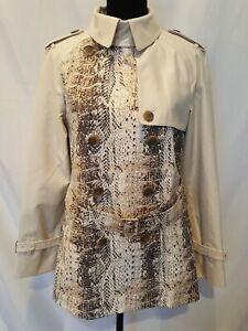 Coach Womens Short Trench Coat Classic Off White Animal Print Sz M Beautiful NEW
