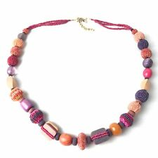 Chico's Beaded Wood Pink Statement Necklace Jewelry