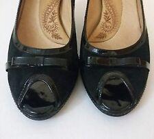 Sofft Womens 8.5 Black Suede Shoes Peep Toe Pumps Heels Bow Trim Gayle