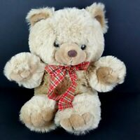 Cuddle Wit Plush Brown Teddy Bear Plaid Ribbon Bow Stuffed Animal 17""