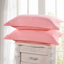 1/2Pcs Cotton Pillow Cases Covers Pillowcases Standard Queen Size Solid Colors