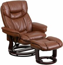 Brown Leather Swiveling Recliner with Ottoman Arm Chair Swivel Recliners Chairs