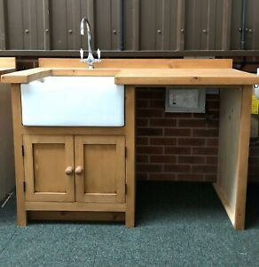 Utility Freestanding Solid Wood Kitchen Unit Inc Taps , And Belfast Sink £1122