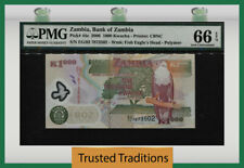 TT PK 44e 2006 ZAMBIA 1000 KWACHA EAGLE & AARDVARK PMG 66 EPQ GEM UNCIRCULATED!