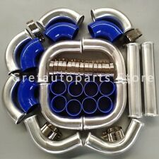 "2"" 51MM Aluminum Turbo Intercooler Piping Pipe Kits+Coupler+Clamp blue 12pcs New"