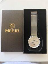MEGIR Silver Chronograph Mesh Band Wrist Watch