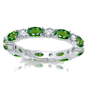 Oval Green Chrome Diopside Eternity Stackable and Round CZ Genuine Silver Ring