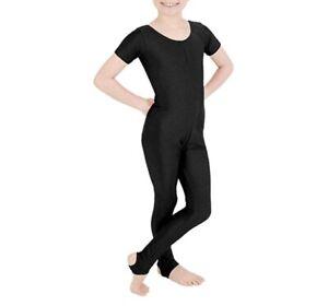 Girls Shiny Nylon Short Sleeves Kids stirrup foot Dance Gymnastics Catsuit