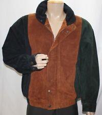 Vintage J Riggins Leather Color Block Bomber Jacket Men Medium Brown Black Green