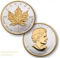MAPLE LEAF GILDED TWO SIDE 24K GOLD BULLION COIN 2012