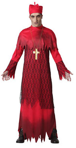 Mens Red Dead Zombie Cardinal Cult Religious Halloween Fancy Dress Costume