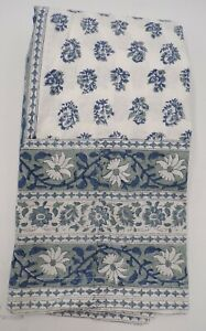 "Pottery Barn Block Print Floral Cotton Tablecloth Paisley 70x 108"" Blue #9947"