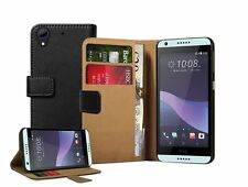 Wallet BLACK Leather Flip Case Cover For HTC Desire 650 + 2 protectors