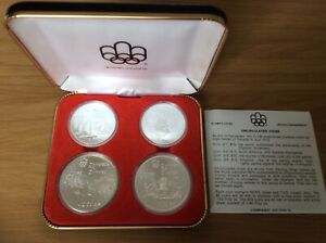 1976 First Set of 4 Silver Uncirculated Montreal Olympic Coins, Presentation Box
