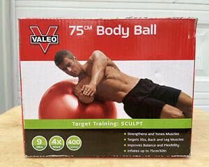 Valeo Exercise Body Ball with Pump, 75 cm, Red New