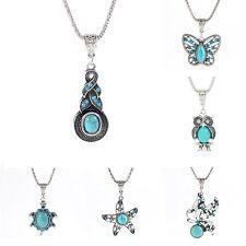 Retro Style Tibetan Silver Turquoise Gemstone Pendant Necklace Charm Jewelry New