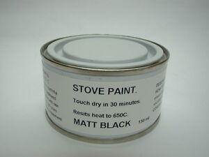 150ml Stove Paint Brush Matt Black Heat Resistant 650C Wood Burner Grate Exhaust