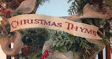 Primitive Christmas Thyme Burlap Ribbon Banner Ornament Garland Wreath Tree BR
