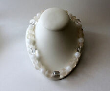 Vintage Clear & Frosted Lucite Glass Bead Art Deco Necklace