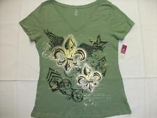 NEW Womens V Neck T Shirt Ladies Top Green Fleur De Lis Small Size 6 Saints