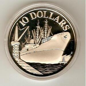 1977 SINGAPORE SILVER Coin $10 SILVER - INDEPENDENCE - SHIP - KM# 15, COA PROOF