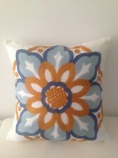 Blue Orange Floral Vintage 100% Cotton Home Decor Pillow Throw Cushion Cover 18""