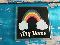 Personalised Rainbow Cloud Coaster - Add any name - Present - Birthday - Gift