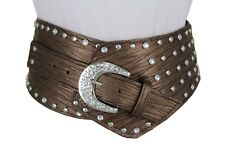 Women Brown Western Extra Wide Belt Hip Silver Studs Beads Bling Buckle Size M L