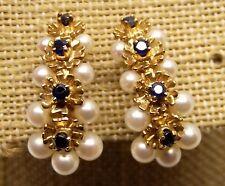 Vtg 14K Gold Cultured Pearl Cluster Clip On Earrings Blue Sapphire Large Ornate