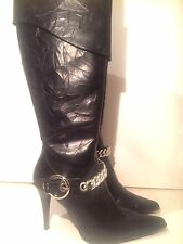 Delicious Black Heels Knee-High Boots with sliver chain Looks nice with handbag