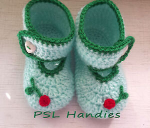 Hand knitted crochet baby booties in light green unisex Acrylic
