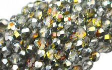 50 CRYSTAL / MAREA FACETED ROUND GLASS BEADS 6MM