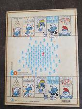 Bloc de 10 timbres belge sur les 60 ans des schtroumpfs.Neufs**