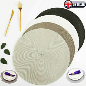 4 Pack of Round Jacquard Weaved Non Slip Placemats Dining Table Place Mats Set R