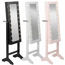 Free Standing Full Length Mirror Cabinet LED Makeup Jewellery Organiser Storage