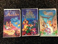 Disney VHS Lot Aladdin Rescuers Down Under Great Mouse Detective Black Diamond