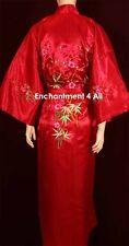 Handmade Embroidered FLORAL Design Silk Satin Long Kimono Robe w/ Waist Tie, Red