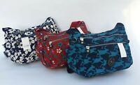 New Ladies/Girls Strong Lightweight Zipped Shoulder Patterned Handbag Blue Red