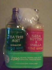Tea Tree Mint Body Wash And Shea Butter & Vanilla Body Wash each 24 oz w/Lufa