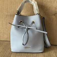 FURLA Nuvola Grey Blue Costanza Medium Bucket Bag Italian Grainy Leather BN