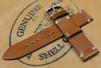 Horween Shell Cordovan Natural Unlined Side Stitch Leather Watch Strap