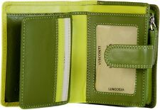 VISCONTI LIME MULTI WOMENS SMALL LEATHER 9 CARD ZIP AROUND PURSE WALLET RB40