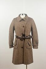NWT $900 Mackage Isabella Speckled Brown Tweed Wool Winter Coat Jacket Leather L