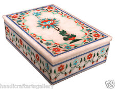 """6""""x4""""x2"""" Marble Jewelry Box Lattice Floral Handcarving Decor Best Gift Art H2263"""