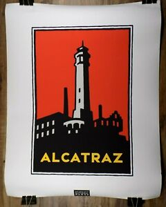 "Michael Schwab Studio Alcatraz Poster 1995 22"" x 27"" Golden Gate National Parks"