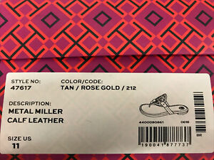 $228 NIB Tory Burch Metal Miller Calf Leather Sandals In Tan/Rose Gold Size 11