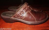 CLARKS Brown Leather MULES Clogs Slides Heels Shoes Women's 6.5