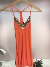 River Island Ladies Women's Orange Sequin Camisole Racer Back Top Size 8 Small